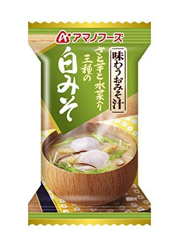 アマノフーズ フリーズドライ 味噌汁 味わうおみそ汁 白みそ 11.5g×10食セット(即席 味噌汁)