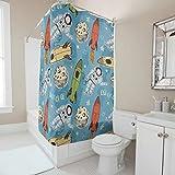Xuanwuyi cohetes y astronautas colorido baño cortina – diseño de decoración de estilo exitoso con ganchos cortina de ducha resistente al agua para baño blanco 200 x 200 cm
