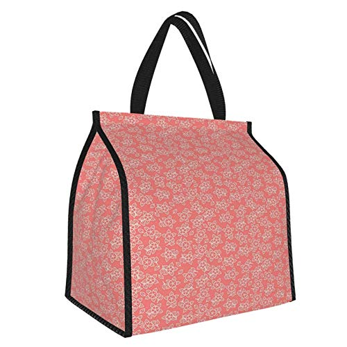Y-shop Coral Asian Garden Bedding Flowers with Small Leaves Hibiscus Daisy Daffodils Zen Decor Coral White Picnic Freezer Bag,Large Insulated Cooler Bag Picnic Camping Beach Tour BBQ 30l
