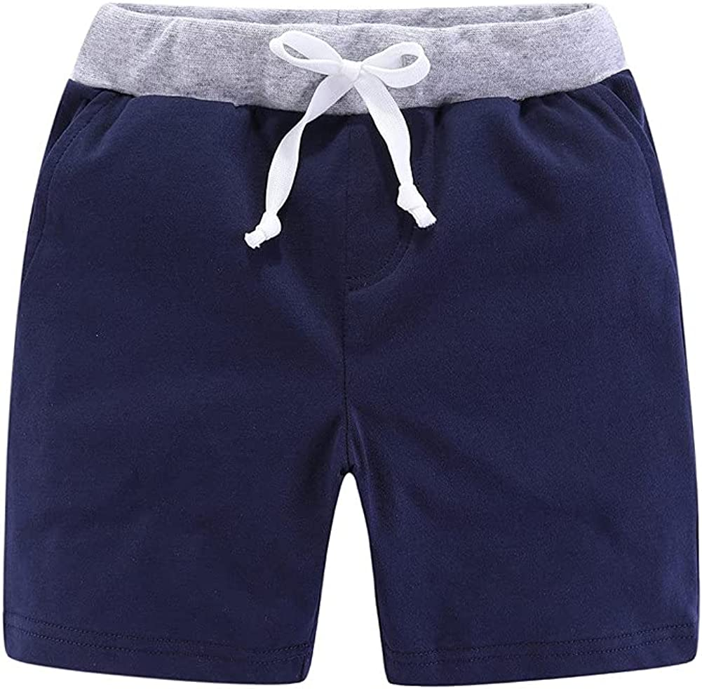 Mud Kingdom Little Boys Athleisure Knit Shorts Elastic Waist with Drawstring