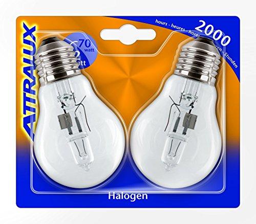 Attralux 925699244244–Pack von 2Halogenleuchten klassischen, Sockel E27, Verbrauch 70W, warmweiß