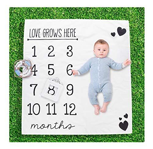 FZ FUTURE Nouveau née Couverture de Props de Photographie, Baby Props imprimé Coton Mensuel Milestone Wrap Swaddle Couvertures, Cadeau de Shower de bébé