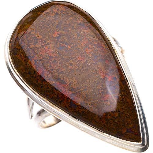 StarGems Natural Piedra de sangre Anillo de plata de ley 925 único hecho a mano 17 1/8 E3129