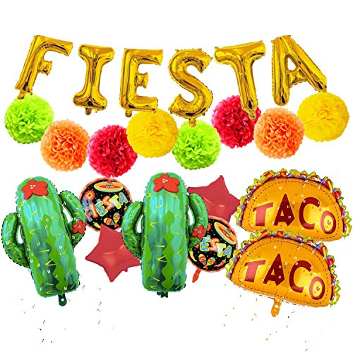 Fiesta Theme Party Decorations - 22 Piece Supply Set Decor Includes 8 Large Balloons 8 Paper Tissue Pom Poms and Fiesta Inflatable Sign for A Mexican Birthday Or Cinco De Mayo Themed Celebration