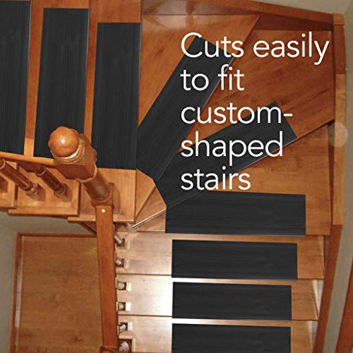 Resilia Indoor Vinyl Stair Tread Mat - Slip-Resistant Runner for Square Steps, Grips Tile, Wood, Concrete, Laminate, Floor Protector, Black, 24 Inches x 9 Inches, Case of 18