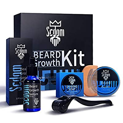 Beard Growth Kit, AoGer Patchy Facial Hair Growing Kit with Titanium Derma Roller + Beard Growth Serum Oil + Beard Balm + Beard Cleansing Soap + Comb,Beard Grooming Tool Kit Best Gift for Men/Dad from AoGer