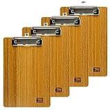 Uquelic 4Pcs/Set Legno Portablocco A5 Menu Board Vintage Design Clipboard A5 Tavoletta Porta Menu con Foro per Appendere