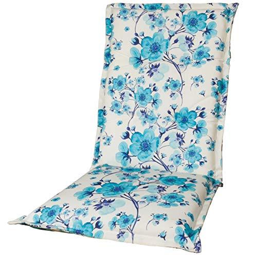 Kopu®-kussen hoge rug Blossom | Tuinkussen voor standenstoelen | Blauw/wit tuinkussen 125 x 50 cm | Japanse kersenbloesemtakken in blauw op een witte achtergrond | Stevig schuim voor extra comfort