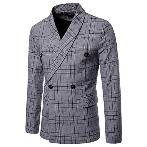 Mr.BaoLong&Miss.GO Men Suits, Men Autumn Suit Jackets, Plaid Double-Breasted Business Casual Suits, Men Casual Clothing Tops Light Grey