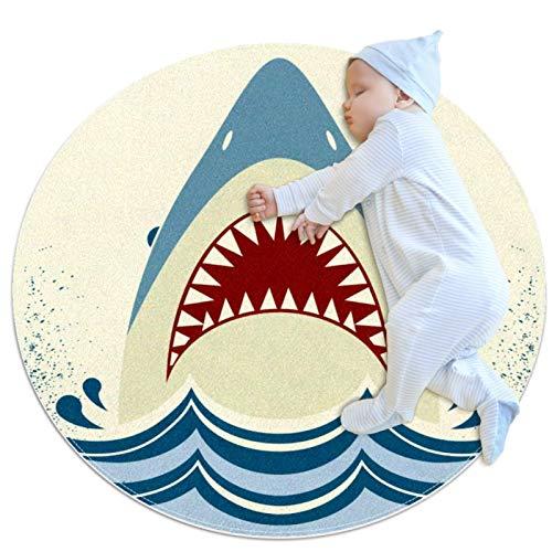 Shark Jaws - Felpudo redondo lavable, antideslizante, para sala de estar, cocina, dormitorio, decoración del hogar, 2,62 pies