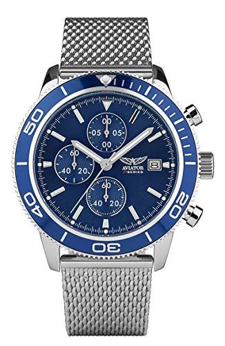Aviator F Series AVW2070G302 - Cronografo da uomo, cinturino in maglia in...