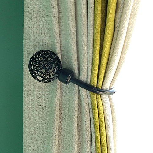 Rideau Embrasses, Nordic rétro en forme de U creux Rideau Embrasses Crochets à fixation murale en métal, Lot de 2, Noir