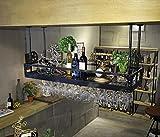 HTDZDX Estante for vino colgante Estante for vasos de vidrio Estante for vaso de vino, Cubilete Champagne Estante de vidrio, Estante de cristalería, Hierro forjado (Color : Black, Size : 60 * 35cm)