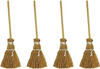 Generic 1: 12 Miniature Witch Brooms Mini Broomstick 4Pcs Mini Broom Garden Tools Dollhouse Furniture Props Micro Landscap...