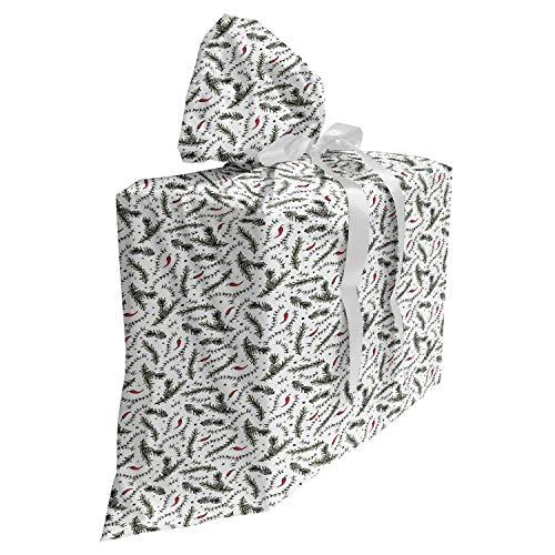 ABAKUHAUS Kruid Cadeautas voor Baby Shower Feestje, Peper rozemarijn en tijm, Herbruikbare Stoffen Tas met 3 Linten, 70 cm x 80 cm, Evergreen White
