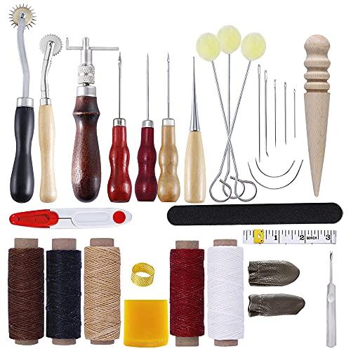 LTXDJ Herramientas de trabajo de cuero, kit de artesanía de cuero con hilo encerado Kit de reparación de cuero para tapicería de cuero alfombra lona DIY accesorios de costura