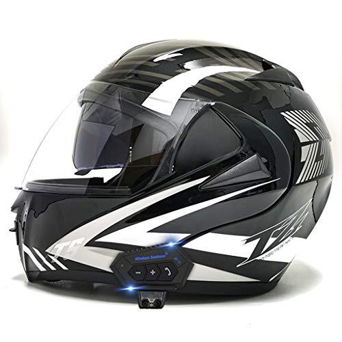 DCLINA Bluetooth Integrado Casco Moto, Modular Motocicleta Personalidad Fresca Integral Casco con Doble Visera, para Montar Al Aire Libre Apto para Cruceros Locomotora Ciclomotor Chopper