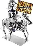 BRUBAKER Portabotellas de Vino Jinete - Escultura de Metal Soporte para Botellas - Figura de Metal de 43 cm Regalo de Vino para Caballos y Aficionados a la Hípica