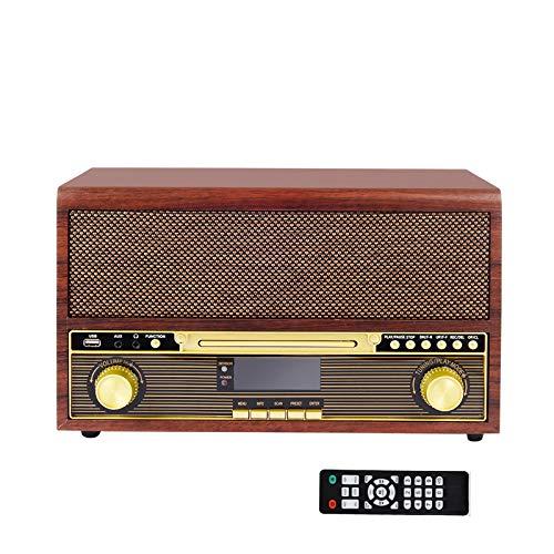 Radio Internet con Dab+ / FM con Bluetooth, MUSITREND Radio con Reproductor CD, USB , AUX-in , para Auriculares , Simula la Madera , Mando Distancia , Marrón