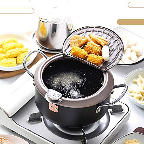 Non-Stick Potable Kitchen Mini Deep Fryer Tempura Fry Pan Fryer Pot with Drainer and Thermometer