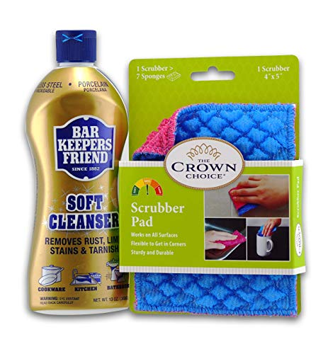 Best Nonstick Pan Cleaner Set - Works for Cleaning Teflon, Non Stick Pots Pans - The Crown Choice Scrubber Pad and Bar Keepers Friend Soft Cleanser 13oz - NonStick Pan Scrubbing Pad