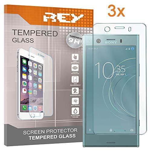 REY Pack 3X Panzerglas Schutzfolie für Sony Xperia XZ1 COMPACT, Bildschirmschutzfolie 9H+ Festigkeit, Anti-Kratzen, Anti-Öl, Anti-Bläschen