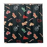Weihnachtsbäume & Süßigkeiten Duschvorhang Wasserdichtes Polyestergewebe Bad Curtian Badezimmer Dekor mit 12 Haken Zoll