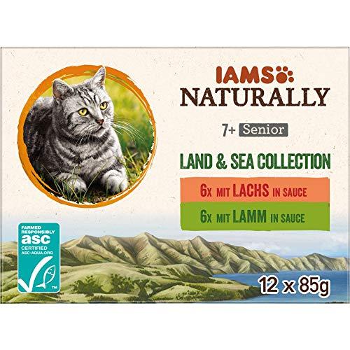 IAMS Naturally Katzenfutter Nass in Sauce, hochwertiges Nassfutter mit Fleisch und Fisch für Senior Katzen, Land & Sea Collection, 12 x 85 g