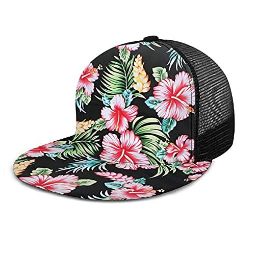YIBEIKJ Floral Hawaiian Flat Bill Snapback Hat for Women Adjustable Mesh Baseball Cap Hip Hop Trucker Hat