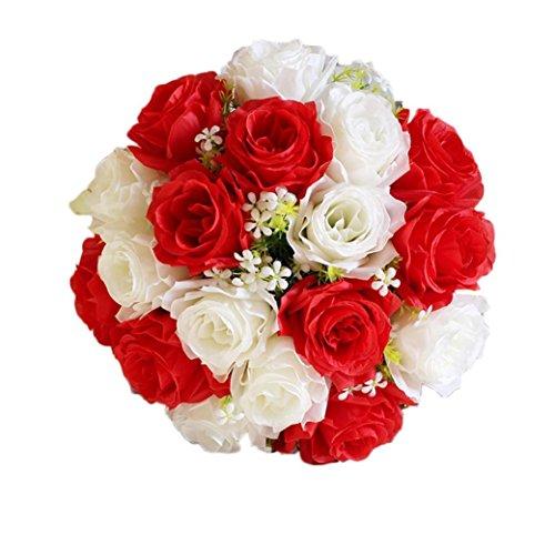 Coloré(TM) Fleurs artificielles 18Head Artificielle Soie Roses Fleurs Bouquet De Mariée Rose Maison De Mariage Décor (A)