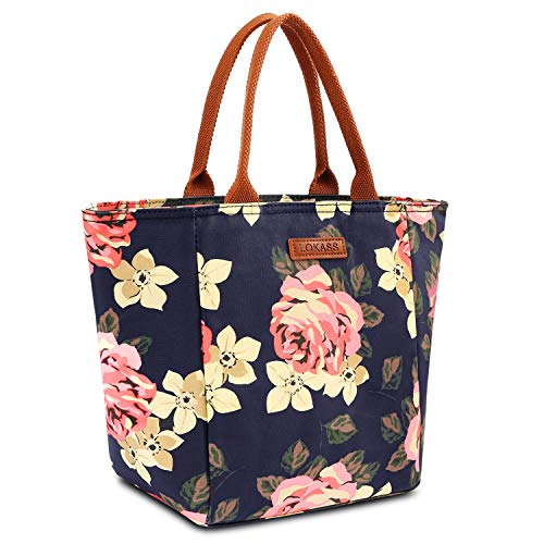 LOKASS Lunch Bag Cooler Bag Food Insulated Bag Lunch Box Tote Bag Picnic Heat Preservation Cold Bag for Women Adults Work Office (Upgraded version Peony)