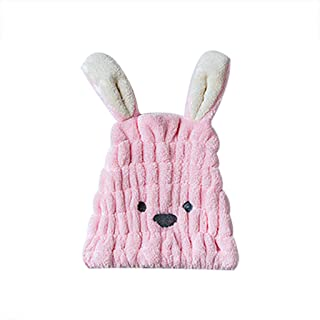 Gotian Cartoon Microfiber Hair Turban Quickly Dry Hair Hat Wrapped Towel Bathing Cap, Ultra Absorbent and Anti Frizz for Quick Hair Drying for Women & Kids with Curly or Long Hair (25x30cm) (Pink)