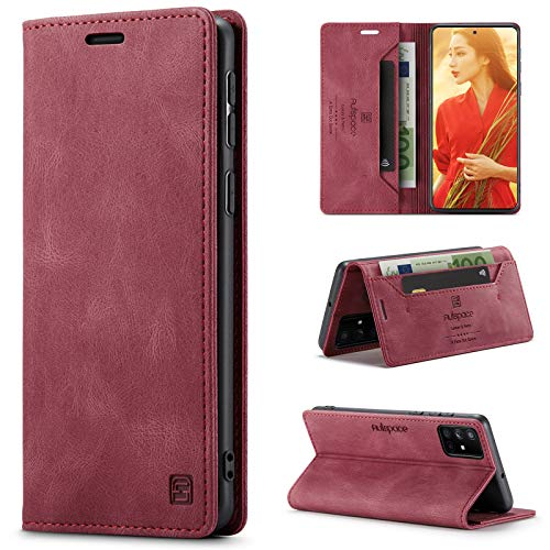 uslion Hülle für Samsung Galaxy A51 4G RFID SchutzHandyhülle Kartenfach Geld Slot Ständer Flip Hülle Magnetisch Klapphülle Lederhülle Schutzhülle für Samsung Galaxy A51 4G - Wein Rot