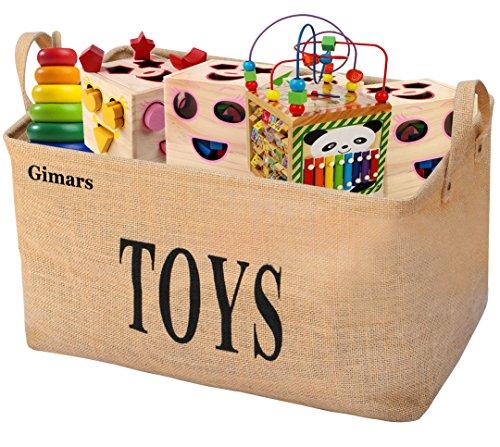 Gimars 20 zoll Große Spielzeugkiste, Spielzeug Aufbewahrungskiste, Spielzeugbox aus Jute, faltbar Aufbewahrungsbox kinder, Spielzeugkisten für Kinderzimmer