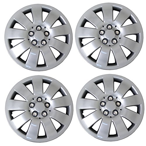 TuningPros WSC3-721S15 4pcs Set Snap-On Type (Pop-On) 15-Inches Metallic Silver Hubcaps Wheel Cover