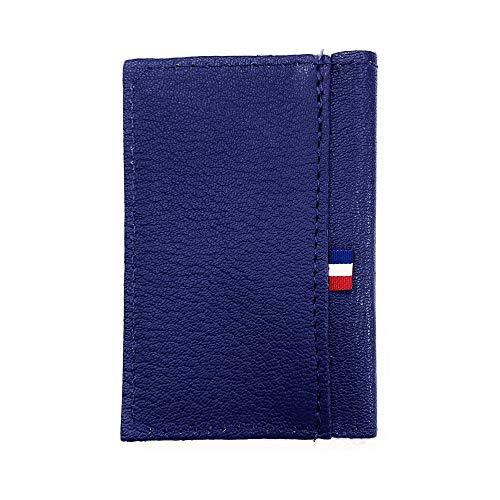 LOLUNA® Porte-carte simple 1 à 2 carte compact en Cuir Chèvre Véritable, MADE IN FRANCE, pour homme et femme - Bleu