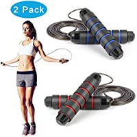 2-Pack Sayfine Adjustable Jumping Ropes with Memory Foam Handles