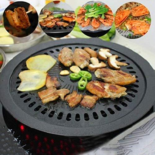 Grillaufsatz, 32 cm Grillplatte Grillpfanne BBQ Grill Rack für Küche, Antihaftbeschichtung