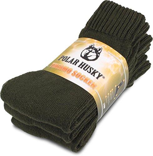 Polar Husky® 3 Paar Super warme Thermo Socken, ideal geeignet für Stiefel Farbe Thermo/Oliv Größe 43/46