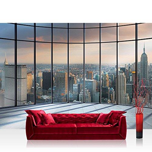 Fototapete 368x254 cm PREMIUM Wand Foto Tapete Wand Bild Papiertapete - New York Tapete Ausblick Panorama Manhattan New York Skyline blau - no. 1336