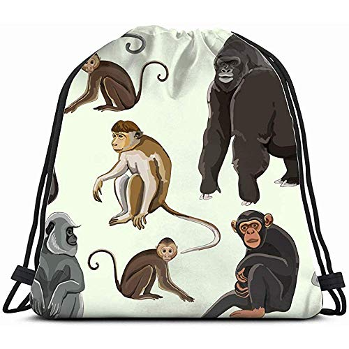 Unisex Bolsa,Diferentes Tipos Monos Animales Fauna Monkey Mochila Con Cordón Gimnasio Bolsas De Baile Para Niñas Bolsa Para Niños Bolsas De Viaje De Hombro Regalo De Cumpleaños Para Hija Niños Mu