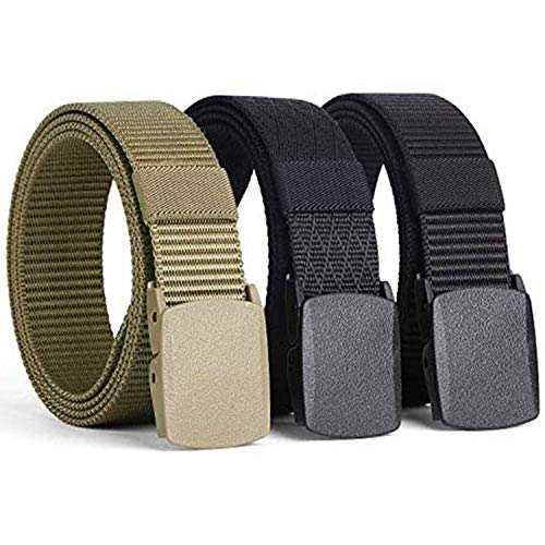 """[3 Pack] Nylon Military Tactical Men Belt Webbing Canvas Outdoor Web Belt with Plastic Buckle Fits Pant Up to 45"""""""