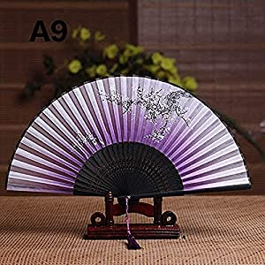 ZJDM Summer Vintage Floral Print Bamboo Folding Hand Held Silk Flower Fan Chinese Dance Party Pocket Gifts Wedding Colorful (Color : Plum)
