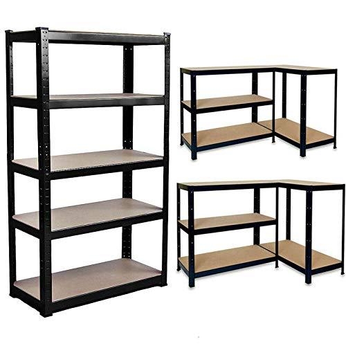 Estantería de 150 x 70 x 30 cm – Cobertizo de garaje de 5 niveles de alta resistencia de metal para taller, cobertizo, oficina