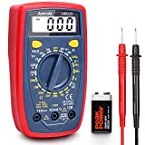 AstroAI Digital Multimeter mit Ohm Volt Ampere Spannung Tester Messung von AC/DC Spannung, DC Strom, Widerstand, Diode, Kontinuität Messinstrument mit Hintergrundbeleuchtung, Rot