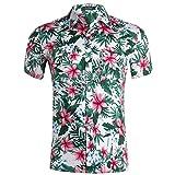 Xmiral Camicia Hawaiana da Uomo Estiva Fiori Tropicale 3D Stampa Manica Corta Casual Camicie Shirt (S,1- Bianca)