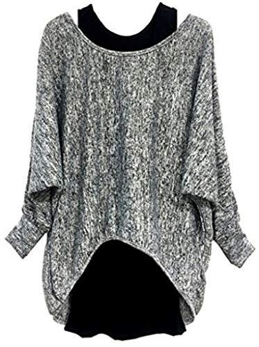 UMIPUBO 2-teiliges Damen-Top mit langen Ärmeln und Weste, Herbst-Sweatshirt, Jumper Ärmel, Fledermausärmel Gr. 46, grau