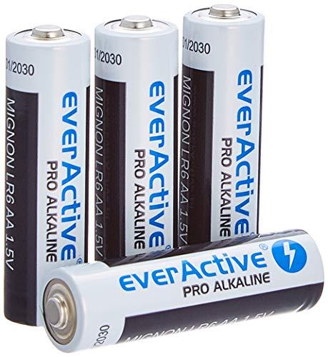 everActive AA Batterien 4er Pack, Pro Alkaline, Mignon LR6 R6 1.5V, höchster Leistung, 10 Jahre Haltbarkeit, 4 Stück