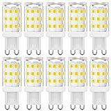 Bombillas LED G9 sin parpadeo 3W Equivalentes a 20W 25W 28W 33W Bombillas halógenas, Blanco natural 4000K, lámpara LED de ahorro de energía con enchufe G9, no regulable, CA 220-240V, paquete de 10