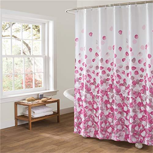Xlabor Blumen Dick Duschvorhang 240x200cm Wasserdicht Stoff Anti-Schimmel inkl. 12 Duschvorhangringe Waschbar Badewannevorhang 240x200cm rosa